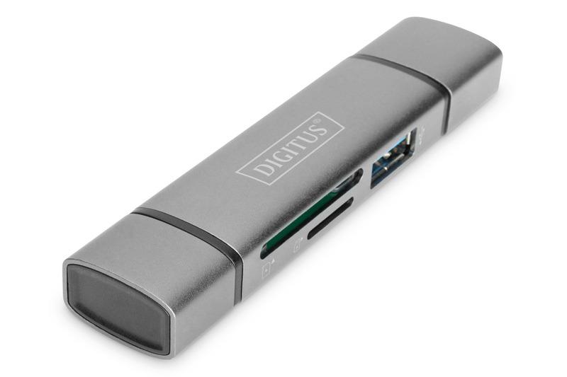 Combo card reader hub (usb-c+usb 3.0) 1x sd, 1x microsd, 1x usb 3.0, grigio