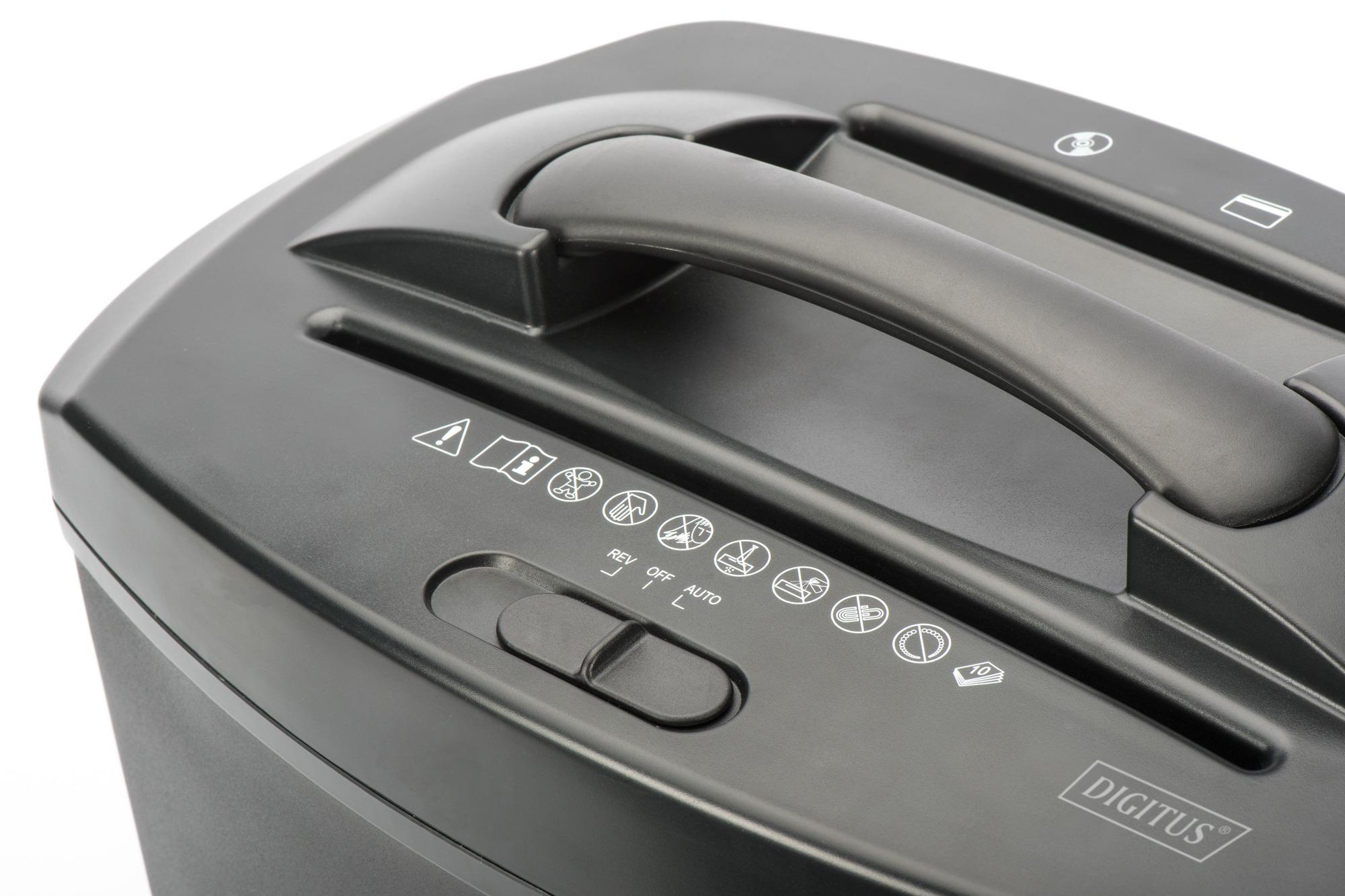 Distruggidocumenti 10 fogli taglio 5×18 mm capacita' 21 lt con slot per cd e carte di credito digitus
