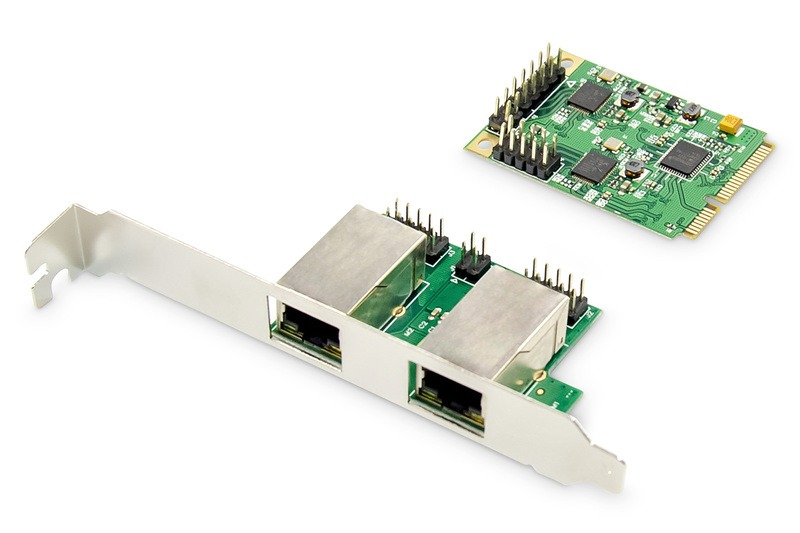 Gigabit ethernet a 2 porte mini pci express card single lane, low profile bracket, realtek chipset