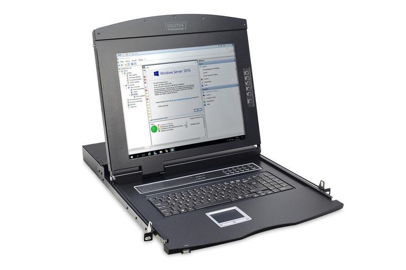 Console tft 17″ per rack 19″ con switch kvm 16 porte cat 5 tastiera italiana