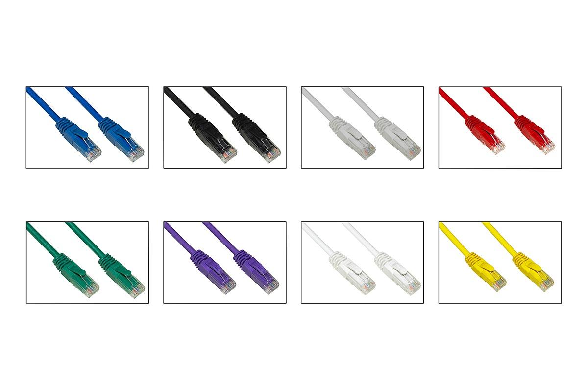 Confezione 8 cavi rete categoria 6a non schermato utp awg24 colori diversi grigio blu nero rosso verde viola bianco giallo halogenfree mt 50