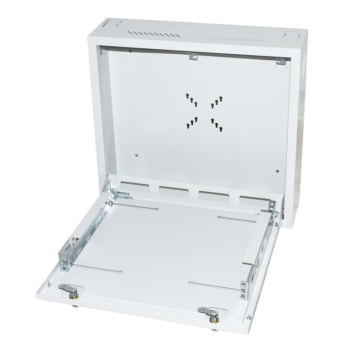 Box a muro dvr/nvr 2 serrature con ripiano apribile e bloccaggi regolabili, attacco vesa per monitor incluso