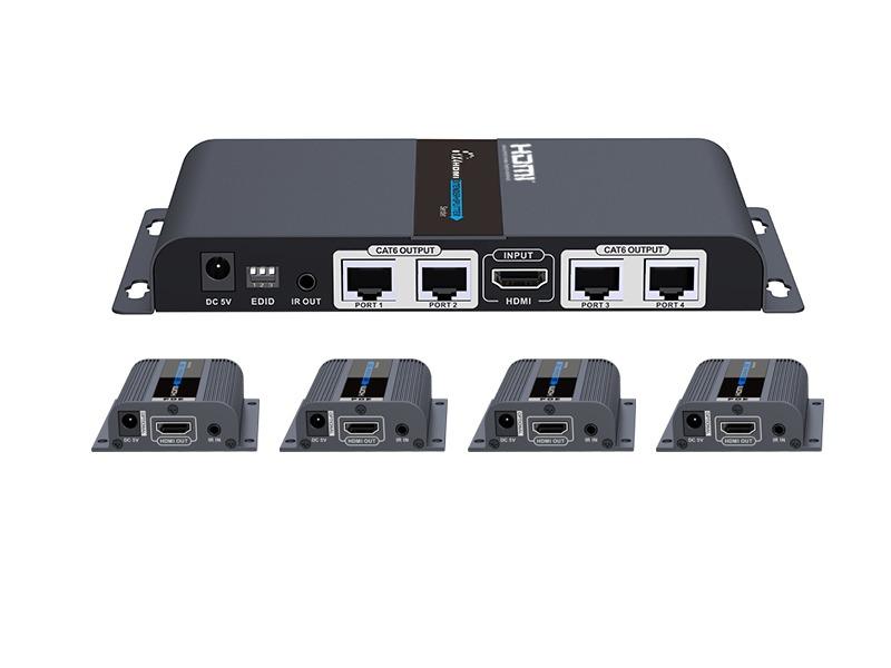 Estensore splitter con un trasmettitore hdmi  e 4 ricevitori  hdmi fino a 4 video tramite cavo di rete fno a 40 metri 1920×1080@60hz con edid