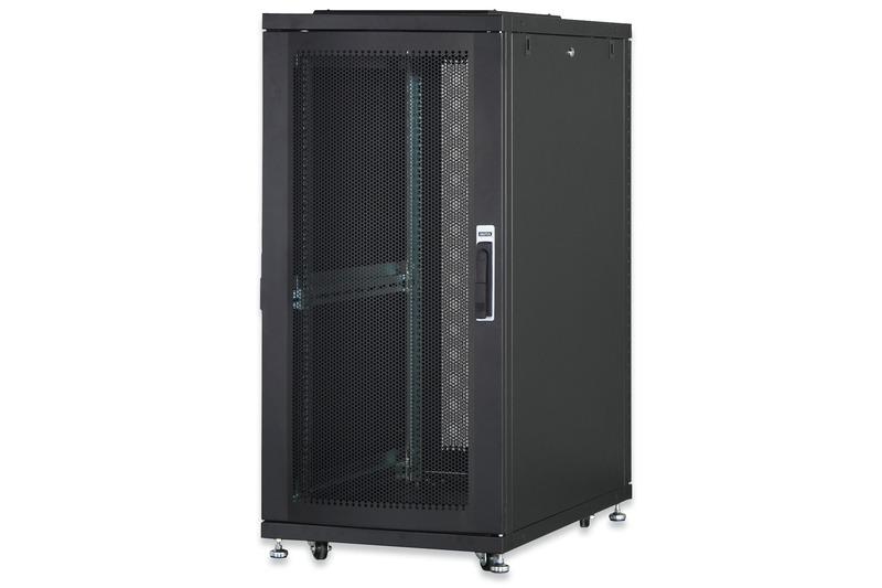 Armadio 36 unita' linea server (a)1787 x (l)600 (p)1000mm. colore nero con porta traforata e ruote
