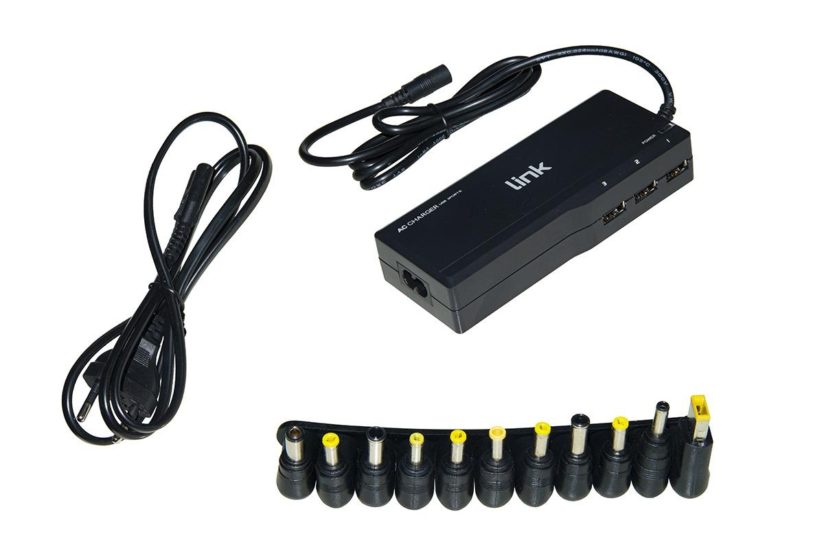 Alimentatore universale per notebook 90 watt 4,5a max, regolazione automatica 15-20 volt con 11 spine e 3 porte usb per ricarica 5 volt 2,4 a