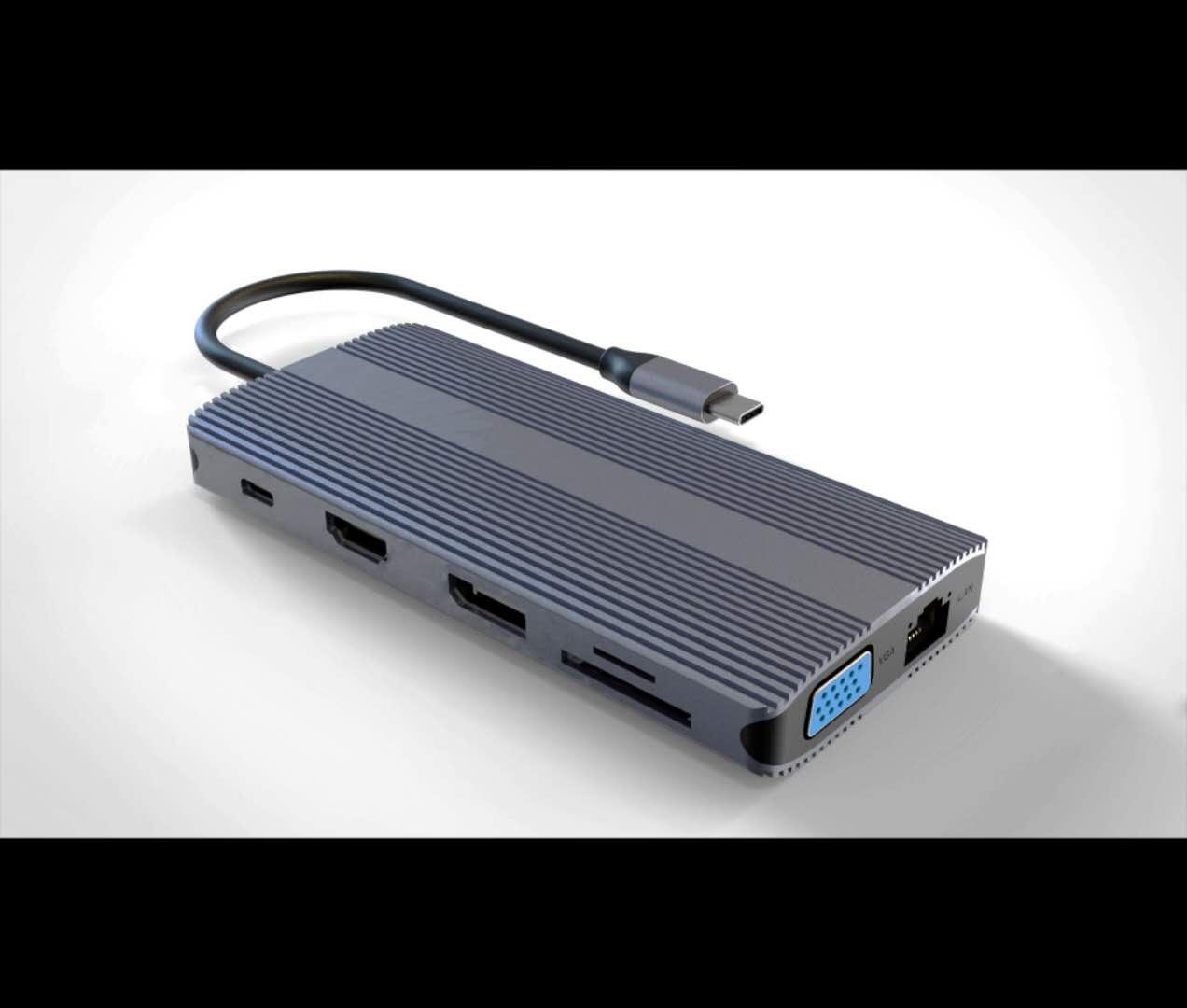 Docking station usb-c con 12 porte usb, hdmi,  dp, vga, pd, audio, gigabit, card, per notebook tablet smartphone