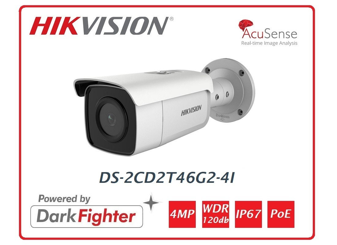 Telecamera Hikvision Easy IP 4.0 AcuSense 4MP Bullet Ottica fissa (4 mm) DS-2CD2T46G2-4I