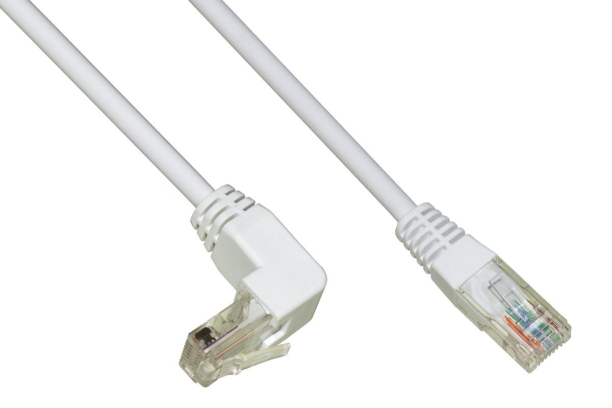 Cavo rete utp cat. 5e non schermato mt. 1 colore bianco 1 connettore 90°
