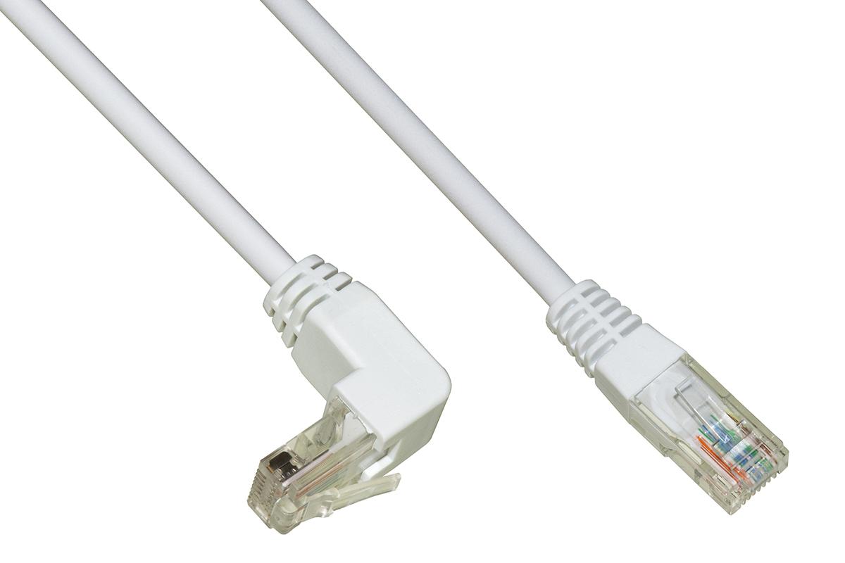 Cavo rete utp cat. 5e non schermato mt. 5 colore bianco 1 connettore 90°