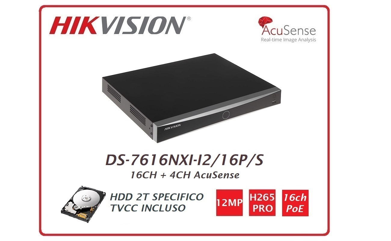 NVR 12MP 16 Canali PoE DS-7616NXI-I2/16P/S