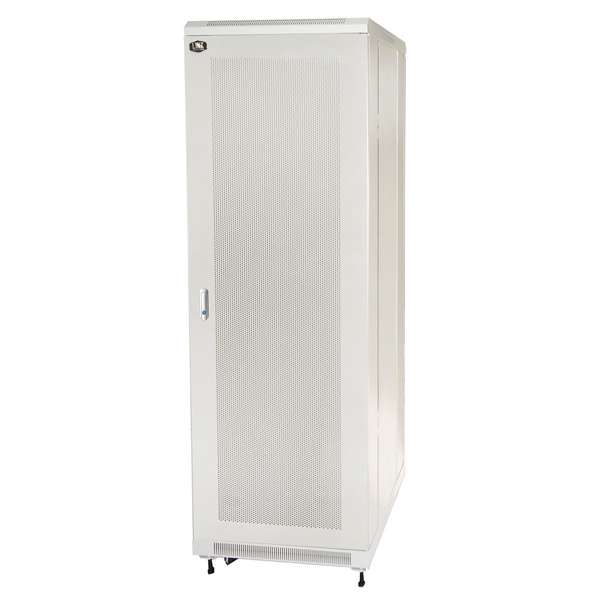 Armadio rack 19″ 42u (a)2055, (l)600, (p)800 colore grigio porta traforata