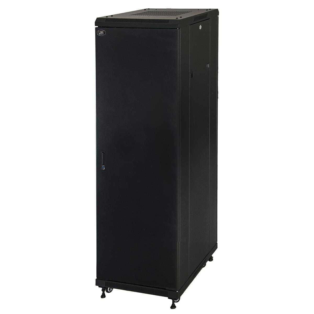 Armadio rack 19″ 42u (a)2055, (l)600, (p)800 colore nero porta metallo pieno