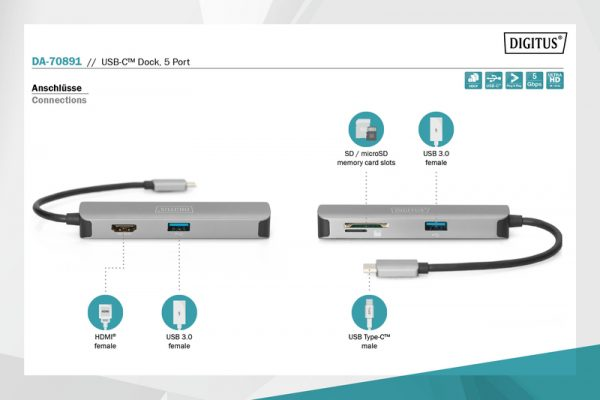 Docking station usb-c con hdmi 4k 30hz, 2 usb 3.0, lettore card sd/micro sd digitus