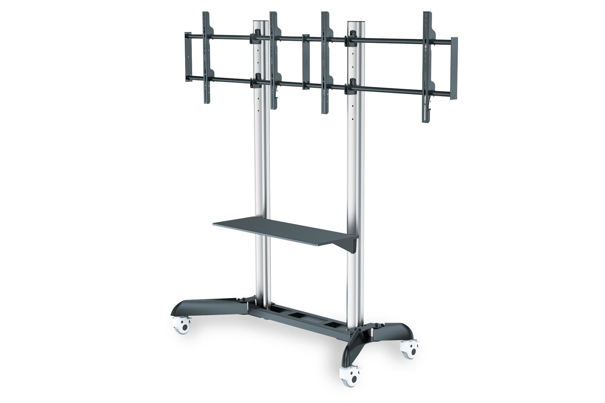 Carrello presentazione doppio per tv fino a 70″ 128 kg con ruote digitus