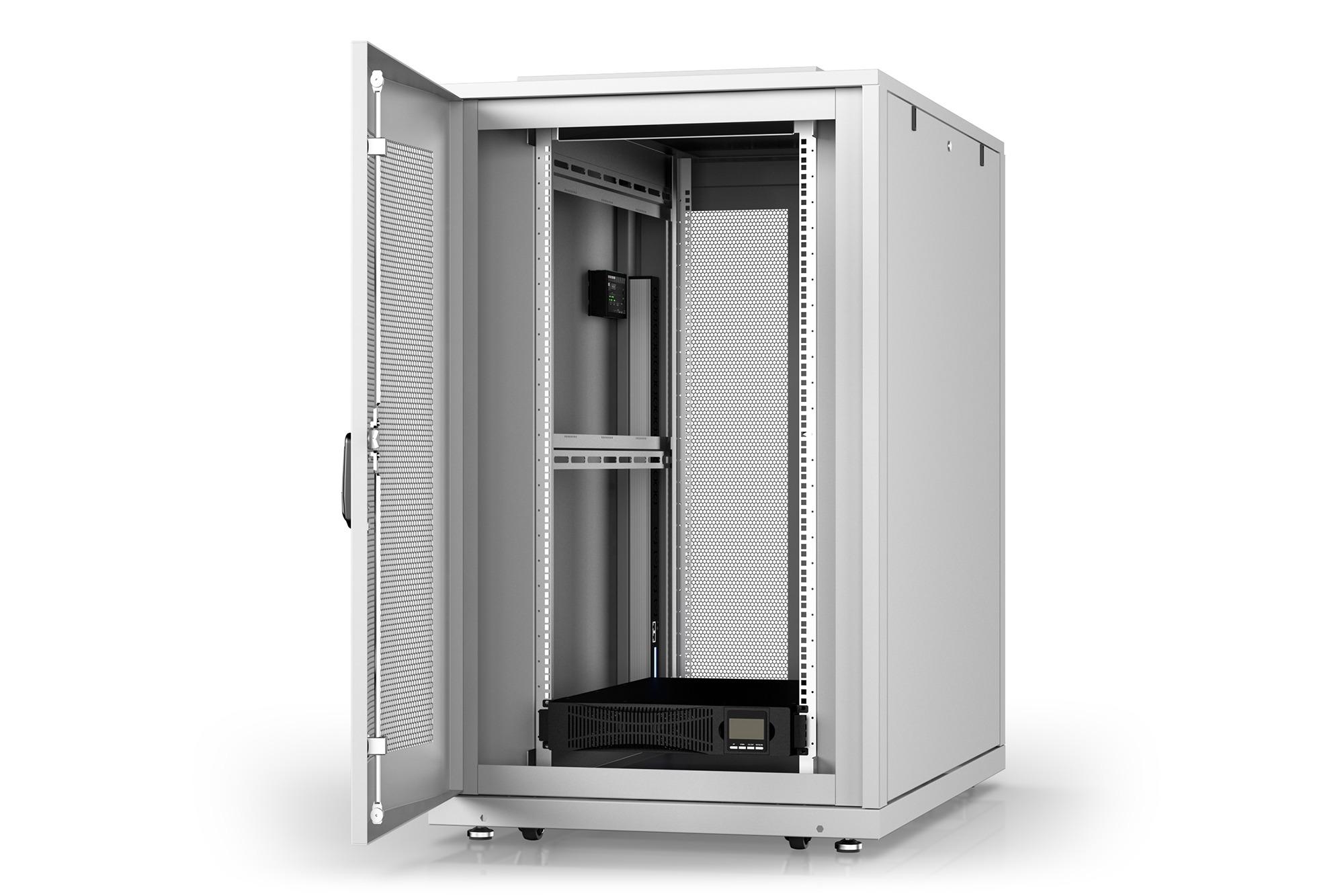 Armadio rack 26u 600×1000 con gruppo di continuita' online 1500va/, multipresa smart, sensori temperatura, sensori porta e sistema monitoraggio