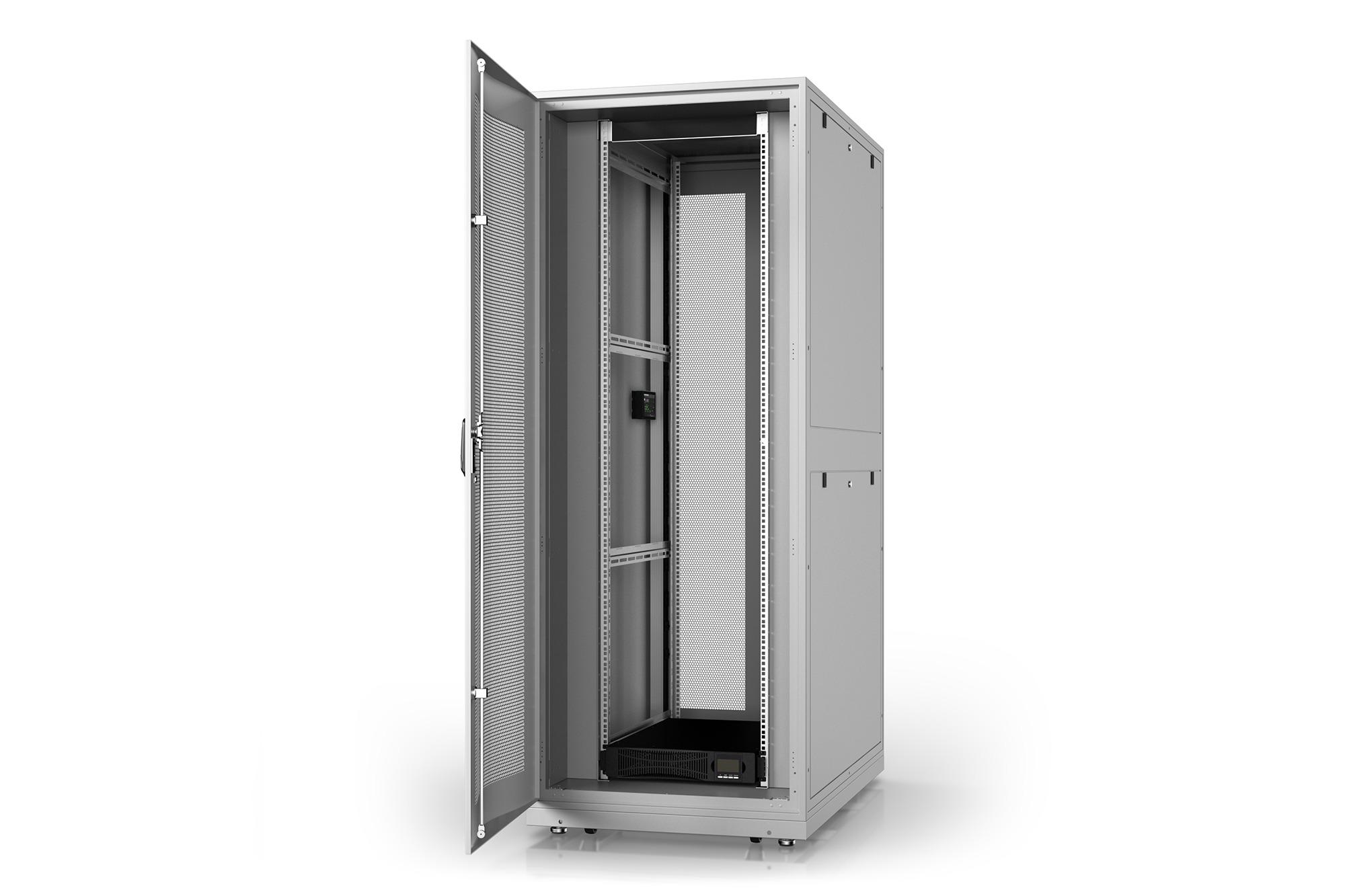Armadio rack 42u 600×1000 con gruppo di continuita' online 3000va/, multipresa smart, sensori temperatura, sensori porta e sistema monitoraggio