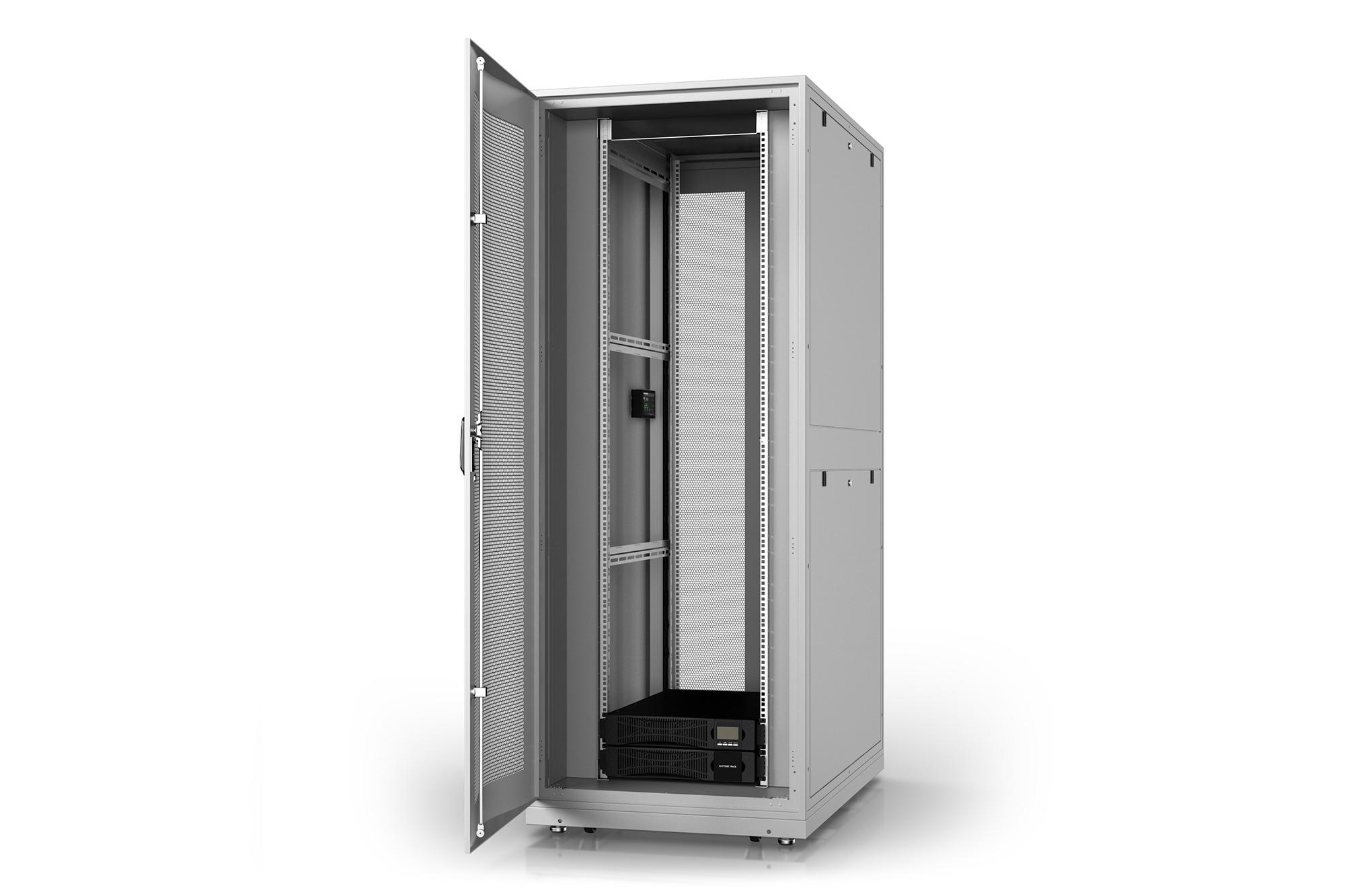 Armadio rack 42u 600×1000 con gruppo di continuita' online 6000va/, multipresa smart, sensori temperatura, sensori porta e sistema monitoraggio