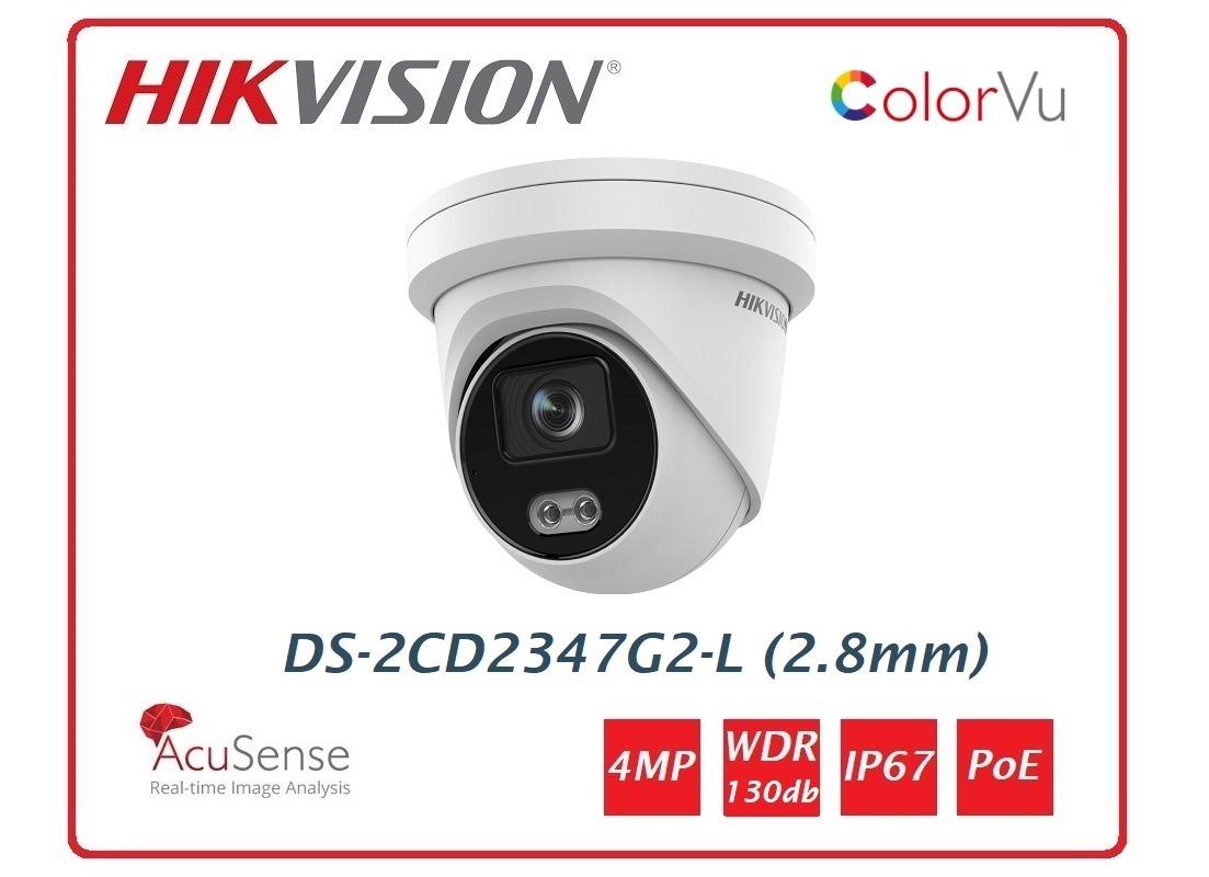 Telecamera Hikvision Easy IP 4.0 ColorVu AcuSense 4MP Turret (2.8mm) DS-2CD2347G2-L