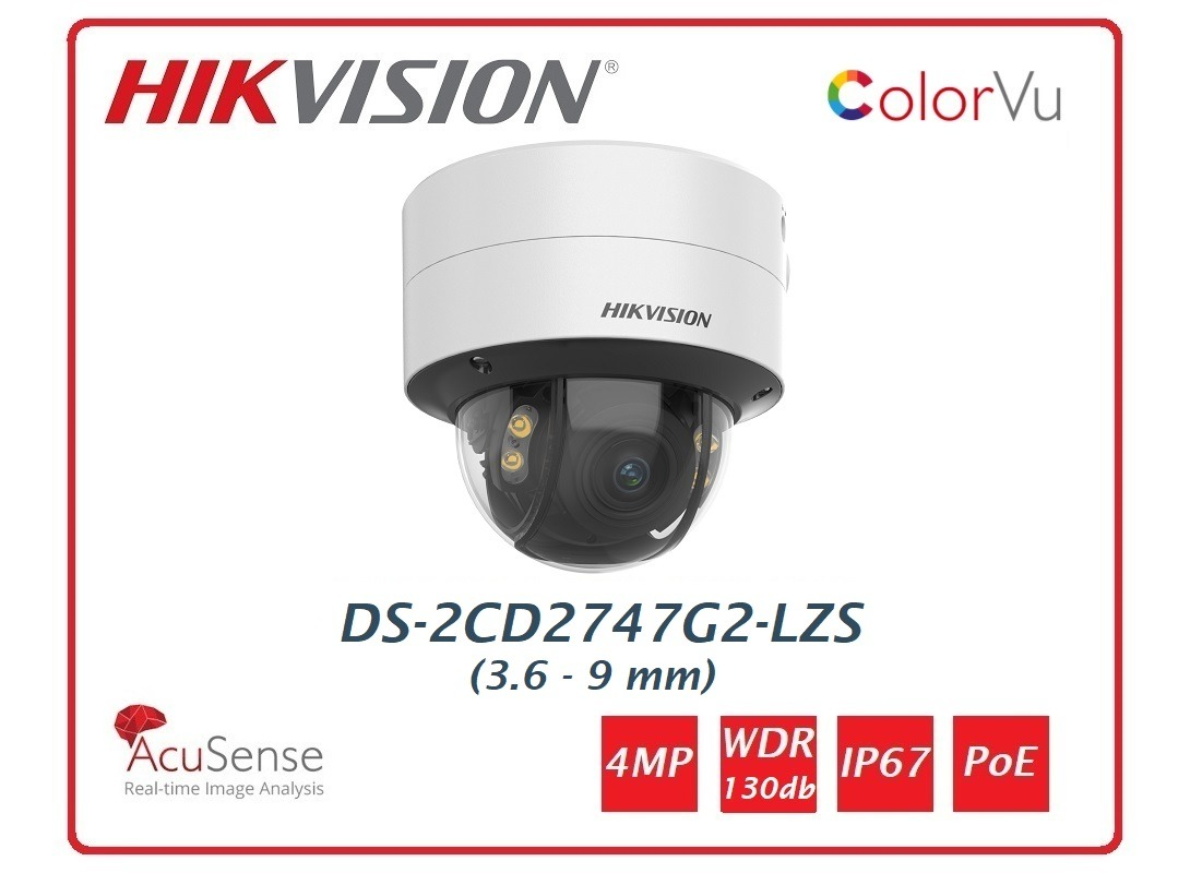 Telecamera Hikvision Easy IP 4.0 ColorVu AcuSense 4MP Turret Varifocal (3.6-9mm) DS-2CD2747G2-LZS