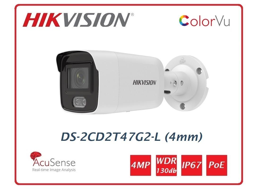 Telecamera Hikvision Easy IP 4.0 ColorVu AcuSense 4MP Bullet (4 mm) DS-2CD2T47G2-L