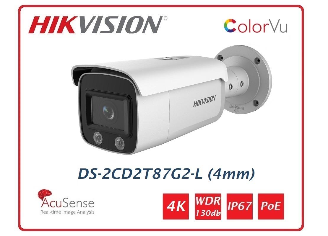 Telecamera Hikvision Easy IP 4.0 ColorVu AcuSense 4K Bullet (4 mm) DS-2CD2T87G2-L